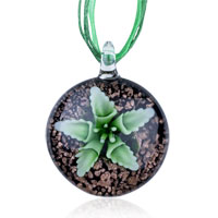 Necklaces - murano glass green flower black round dichroic pendant necklace gemstone Image.