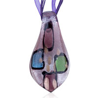 Necklaces - murano glass green blue bean red spots purple dichroic pendant necklace summer fashion jewelry Image.