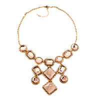 Necklace & Pendants - statement necklace golden chain light brown crystal party pendant Image.