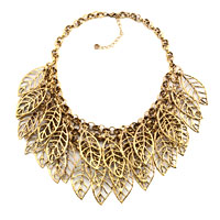 Necklaces - statement necklace vintage golden tone chain hollow chunky leaf pendant Image.