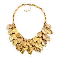 Necklaces - statement fashion retro golden chain dangle chunky leaf pendant necklace Image.