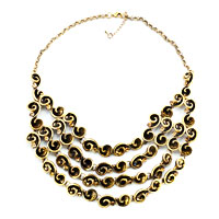 Necklaces - hot retro statement party ball golden tone chain chunky necklace pendant Image.