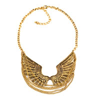 Necklace & Pendants - statement necklace fashion retro golden chain similar eagle wing pendant party ball necklace Image.