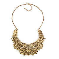 Necklaces - statement necklace golden chain jewelry hollow floral adorned pendant Image.