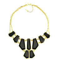 Necklace & Pendants - statement necklace golden chain jewelry black lump jaspery adorned pendant Image.
