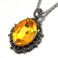 Necklace & Pendants - november yellow translucent teardrop murano glass pendant necklace for women Image.