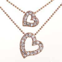 Necklace & Pendants - fashion golden double heart and chains crystal cz pendant necklace Image.