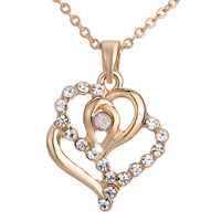 Necklace & Pendants - golden double artistic heart pendant Image.