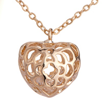 Necklace & Pendants - fashion women' s golden tone stereo hollow heart pendant necklace Image.