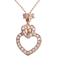 Necklace & Pendants - karma necklaces golden crystal double heart pendant earrings Image.