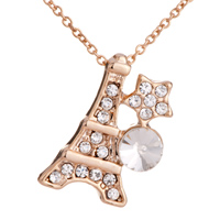 Necklace & Pendants - golden eiffel tower star clear crystal pendant Image.