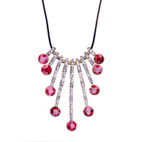 Necklace & Pendants - october birthstone pink crystal multi drops pendant necklace earrings Image.