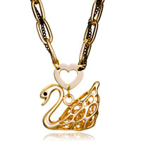 Necklace & Pendants - 18 k gold plated swan heart love citrine crystal cz pendant necklace earrings Image.