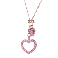Necklace & Pendants - october square double flower pattern pink crystal pin photo pendant earrings Image.