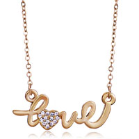 Necklace & Pendants - golden love with clear crystal heart pendant necklace earrings Image.