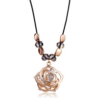 Necklace & Pendants - new gold rose flower murano glass european beads pendant necklace earrings Image.