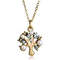 Necklace & Pendants - golden christmas tree life clear crystal pearl pendants Image.