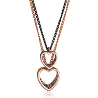 Necklace & Pendants - 18 k gold plated heart love golden black chain couple necklace set pendant Image.