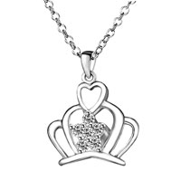Necklace & Pendants - mothers day gifts silver king crown crystal pendant necklace Image.