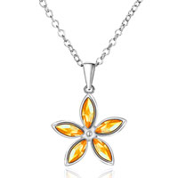 Necklace & Pendants - november yellow plum blossom flower crystal pendant necklace silver Image.