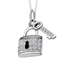 Necklace & Pendants - 925  sterling silver lock and key love crystal cz pendant necklace Image.