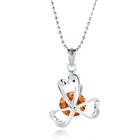 Necklace & Pendants - silver clover orange crystal pendant necklace christmas Image.