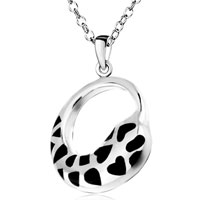 Sterling Silver Jewelry - silver cricle black heart pendant necklace christmas Image.