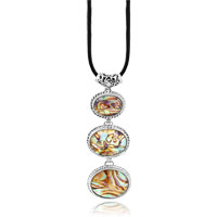 Necklace & Pendants - silver oval colorful pattern shell pendant necklace Image.