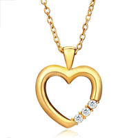 Necklace & Pendants - karma 18 k gold plated heart clear crystal cz pendant necklace h06   earrings Image.