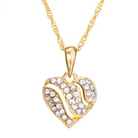 Necklace & Pendants - 18 k gold plated heart shaped with clear crystal pendant necklace earrings Image.