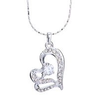 Necklace & Pendants - heart with clear crystal cz silver plated pendant necklace earrings Image.