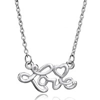 Necklace & Pendants - silver plated words love heart pendant necklace earrings Image.