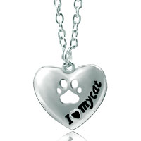"Necklace & Pendants - women' s silver plated i love cat message heart pendant necklace 18""   earrings Image."