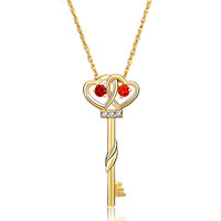 Necklace & Pendants - hot 18 k gold plated key with siam crystal cz eye pendant necklace earrings Image.