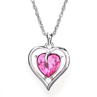 Necklace & Pendants - heart pink crystal cz silver plated pendant necklace for women earrings Image.