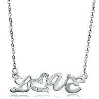 "Necklace & Pendants - love with clear crystal cz silver plated pendant necklace 18""   earrings Image."