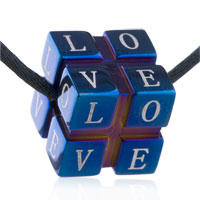 Necklaces - mothers day gifts men jewelry love cube stainless steel necklaces pendant for men Image.
