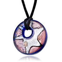 Necklace & Pendants - classic brown silver round murano glass pendant necklace Image.