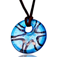 Necklace & Pendants - blue black lines starfish round murano glass pendant necklace earrings Image.