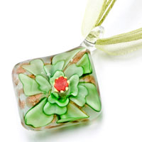 Necklace & Pendants - square green flower pattern murano glass necklace pendant Image.