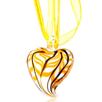 Necklace & Pendants - heart yellow black stripe pattern murano glass pendant necklace Image.
