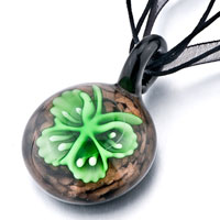 Necklace & Pendants - round green butterfly pattern murano glass pendant necklace Image.