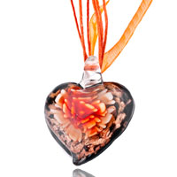 Necklace & Pendants - heart orange flower pattern murano glass pendant necklace Image.