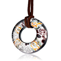 Necklace & Pendants - karma necklaces silver brown round murano glass pendant necklace Image.