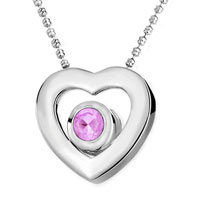 Necklace & Pendants - heart rose pink crystal cubic zirconia pendant necklace with chain earrings Image.