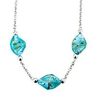 Murano Glass Jewelry - blue helix classic murano glass lampwork pendant necklaces Image.