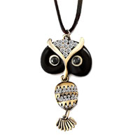 Necklace & Pendants - vintage lovely black owl head belly clear rhinestone crystal pendant necklace 18  inches long chain Image.