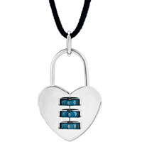 New Year Deals - stainless steel heart lock love women pendant necklace Image.