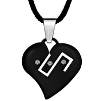Murano Glass Jewelry - black stainless steel symbol on my heart love pendant necklace Image.