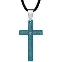 Necklace & Pendants - bible verse on blue stainless steel cross pendant necklace Image.